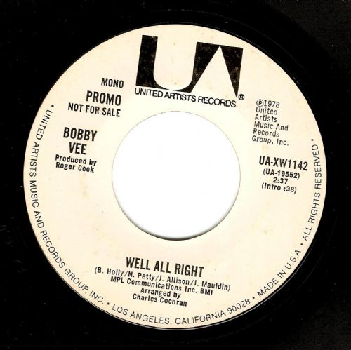 BOBBY VEE Well All Right Vinyl Record 7 Inch US United Artists 1978 Promo